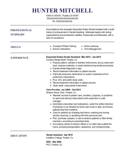 Expanded Duties Dental Assistant resume format Colorado