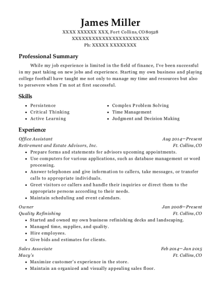 Office Assistant resume example Colorado