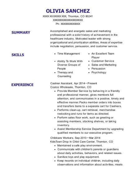 Cashier Assistant resume example Colorado