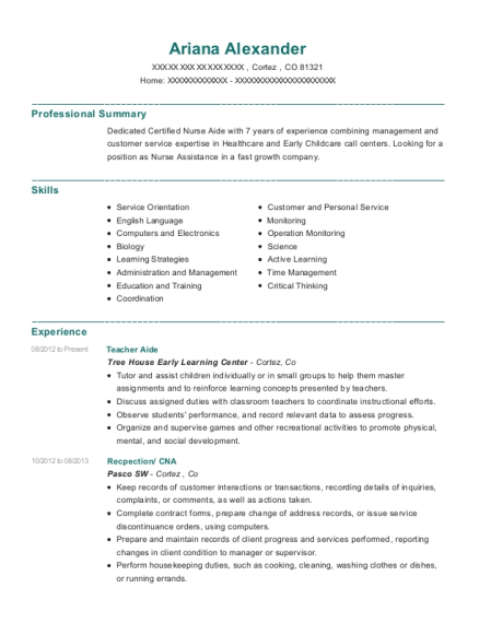 Teacher Aide resume format Colorado