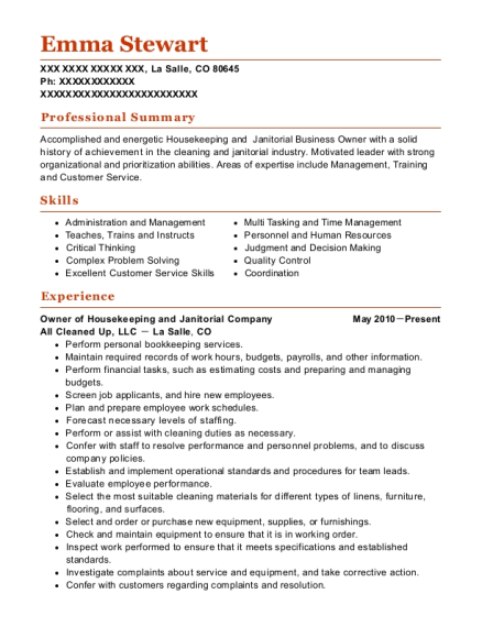 Owner of Housekeeping and Janitorial Company resume format Colorado