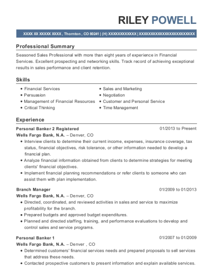 Personal Banker 2 Registered resume format Colorado