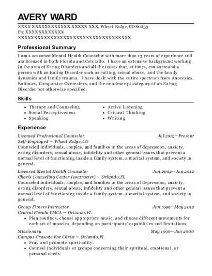 Licensed Professional Counselor resume example Colorado