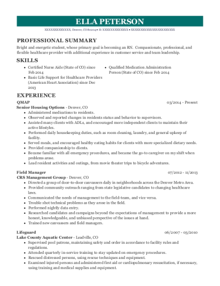 QMAP resume sample Colorado