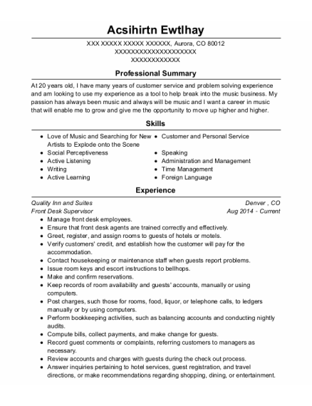 Front Desk Supervisor resume sample Colorado