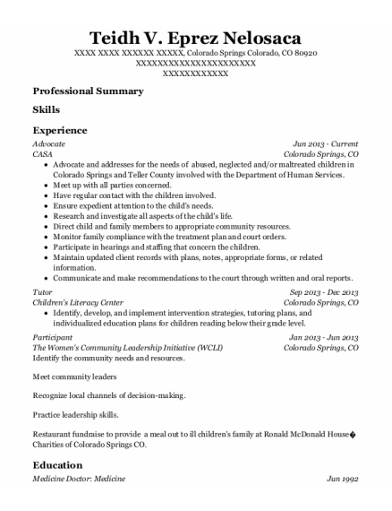 Advocate resume format Colorado