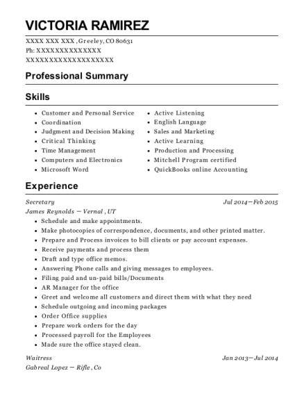 Secretary resume sample Colorado