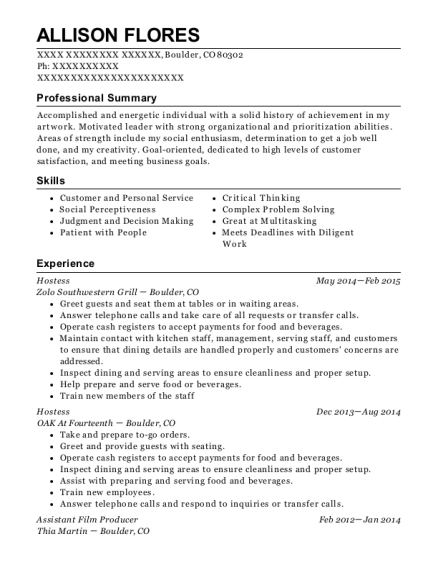 Hostess resume format Colorado