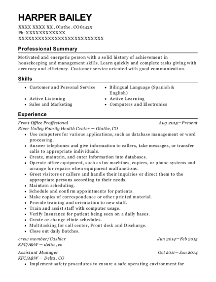 Front Office Proffesional resume format Colorado