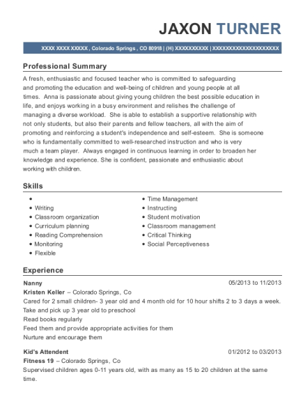 laura esser nanny resume sample