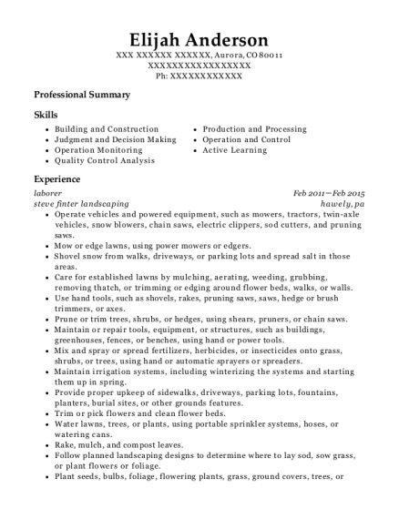 Laborer resume example Colorado