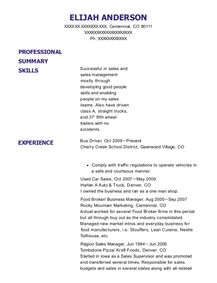 Bus Driver resume format Colorado