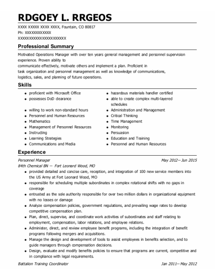Personnel Manager resume format Colorado