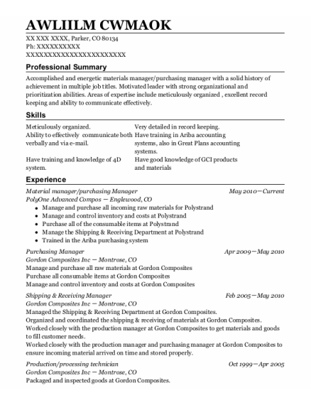 Material Manager resume example Colorado