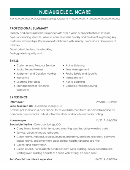 Interviewer resume format Colorado