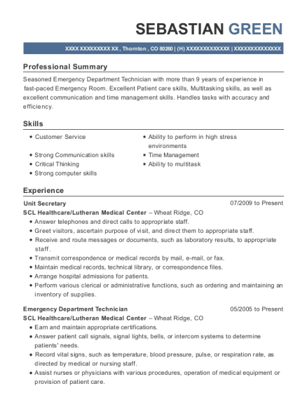 Unit Secretary resume template Colorado