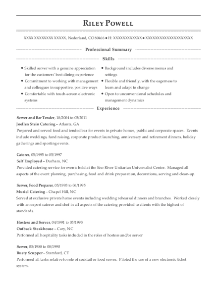 Server and Bar Tender resume template Colorado