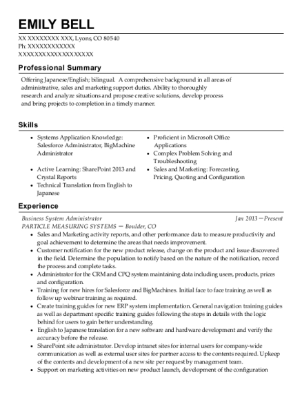 Business System Administrator resume format Colorado