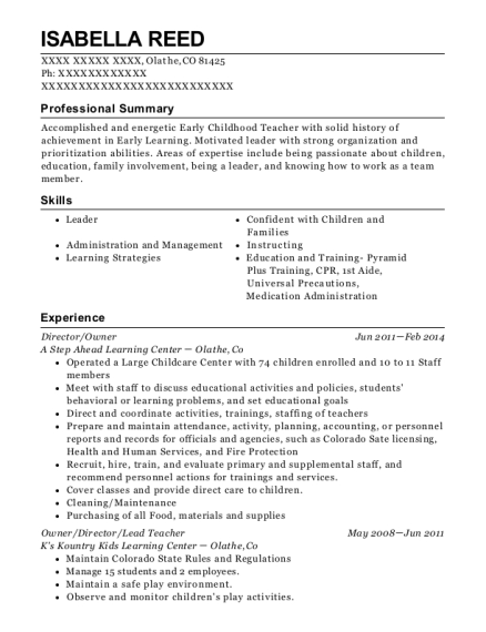Director resume format Colorado