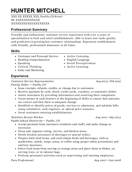 Customer Service Representative resume format Colorado