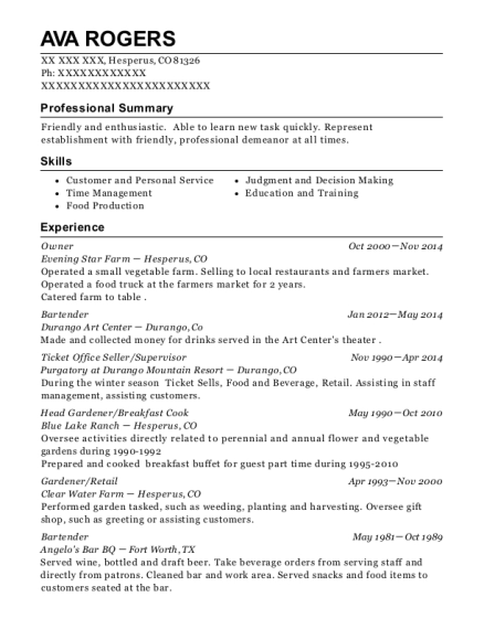 Owner resume format Colorado