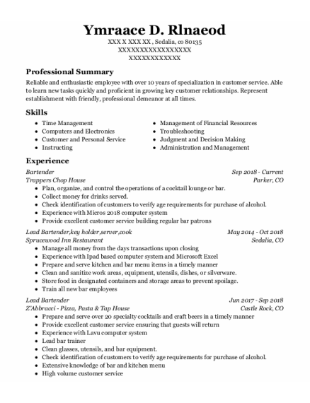 Bartender resume format Colorado