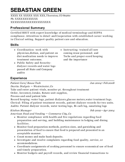 Patient Care resume example Colorado