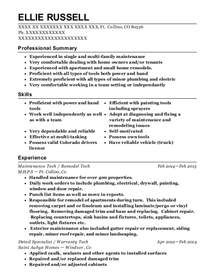 Maintenance Tech resume format Colorado