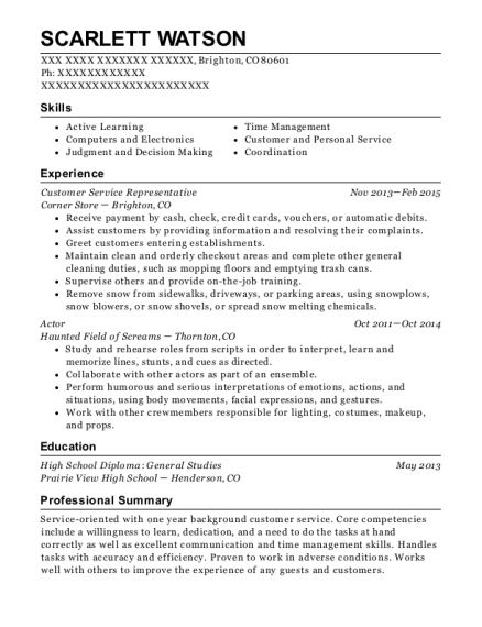 Customer Service Representative resume template Colorado