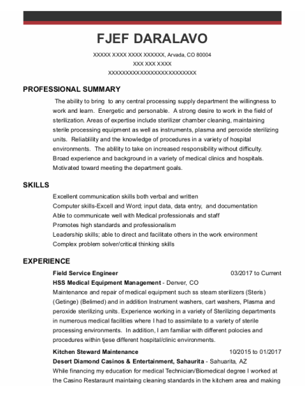 Field Service Engineer resume format Colorado