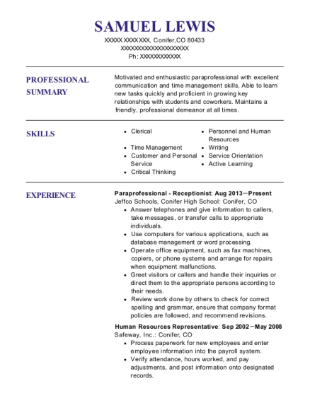 Paraprofessional Receptionist resume format Colorado