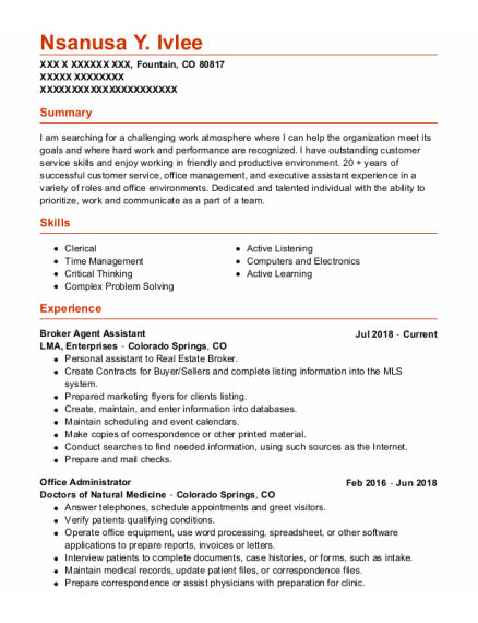 Office Administrator resume format Colorado