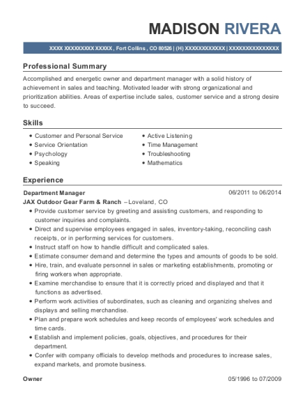 Department Manager resume sample Colorado