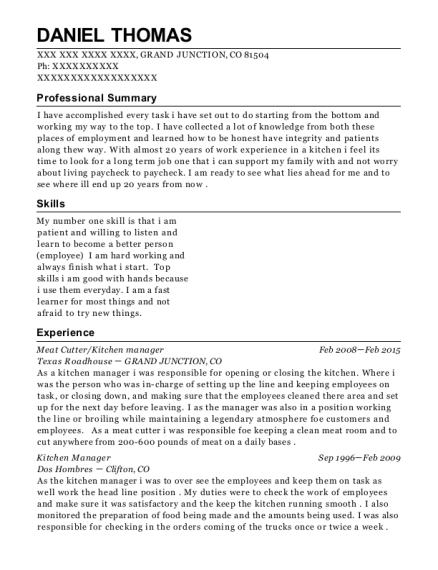 Meat Cutter resume format Colorado