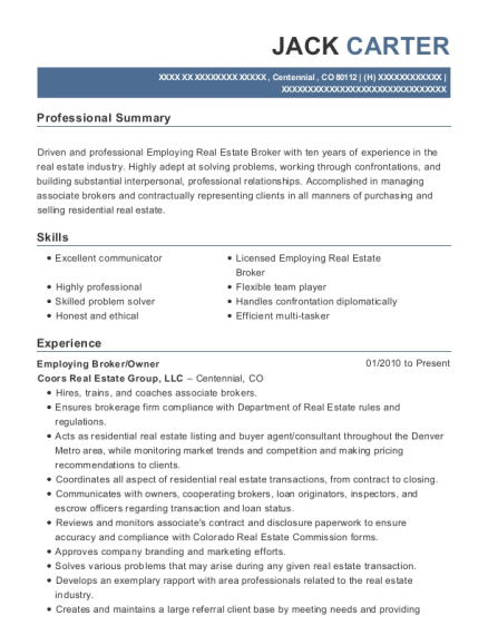 Employing Broker resume template Colorado