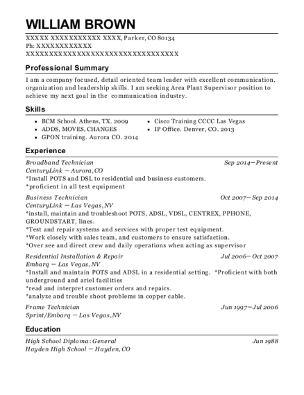 Broadband Technician resume sample Colorado