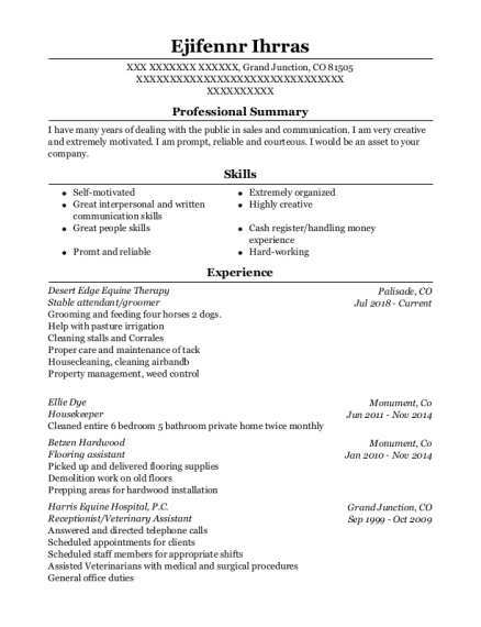 housekeeper resume sample Colorado