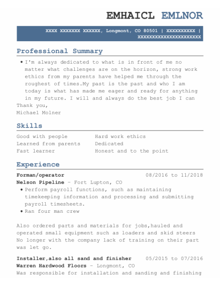 Forman resume format Colorado