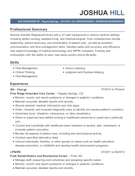 RN Charge resume format Colorado