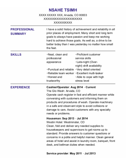 Cashier resume sample Colorado
