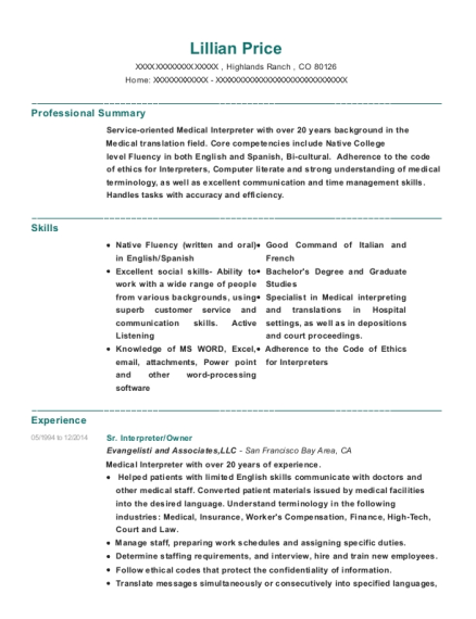 Sr Interpreter resume template Colorado