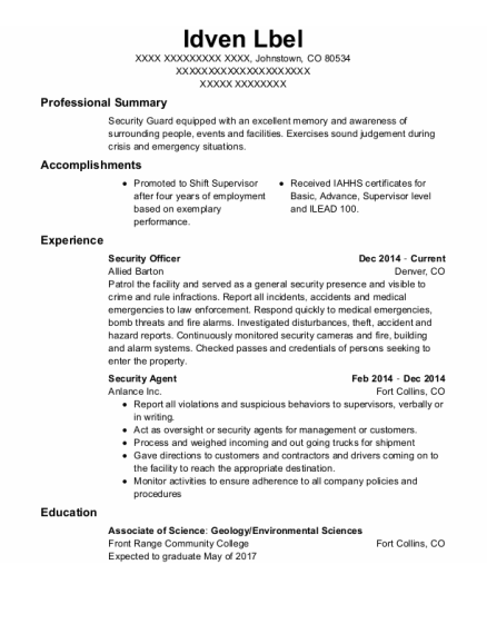 Security Officer resume example Colorado