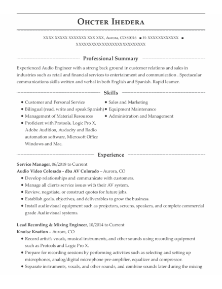 Service Manager resume example Colorado