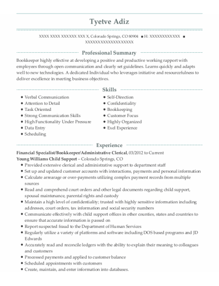 Financial Specialist resume example Colorado