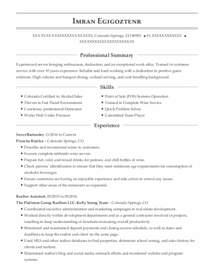 Sever resume example Colorado