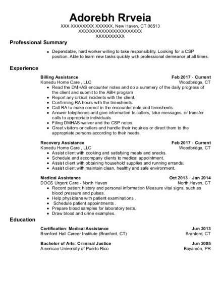 Medical Assistance resume template Connecticut