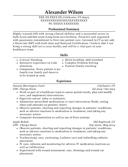 LPN Charge Nurse resume sample Connecticut