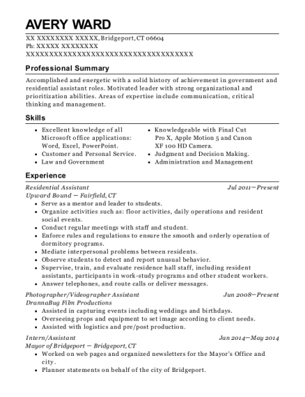 Residential Assistant resume example Connecticut