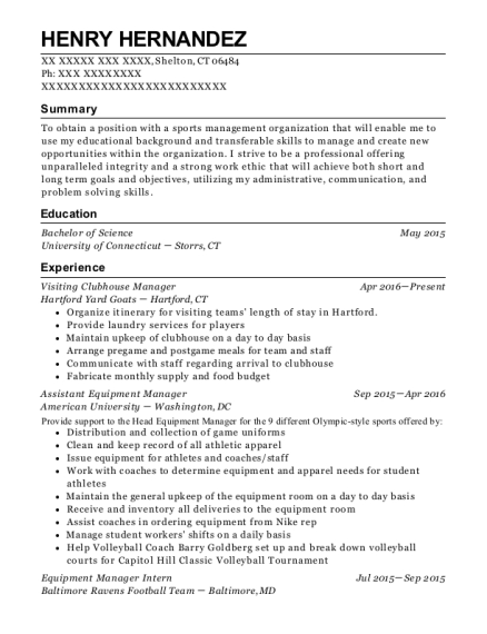 Visiting Clubhouse Manager resume template Connecticut