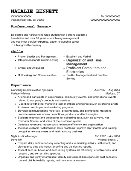 Marketing Communication Specialist resume example Connecticut